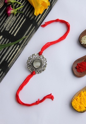 Red Handcrafted Rakhi With Mirror Work