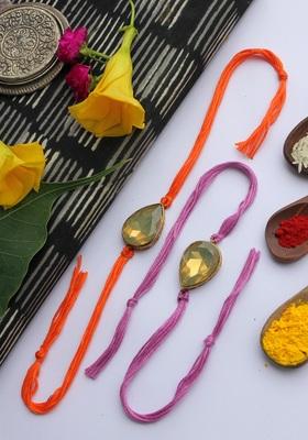 Orange Purple Handcrafted Crystal Rakhis