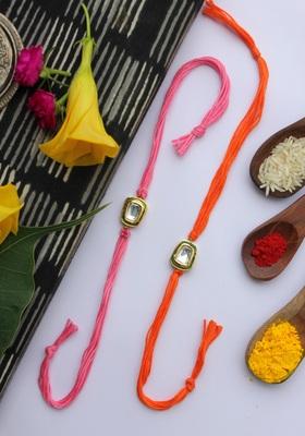 Orange Pink Handcrafted Kundan Inspired Rakhis (Set Of 2)