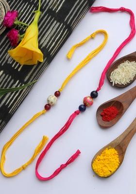 Multicolored Handcrafted Meenakari Rakhis (Set Of 2)
