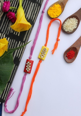Multicolored Handcrafted Kundan Inspired Rakhis (Set Of 2)