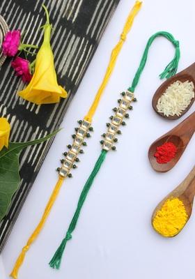 Green Yellow Handcrafted Kundan Inspired Rakhis (Set Of 2)
