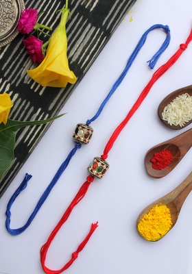 Red Blue Handcrafted Kundan Inspired Rakhis (Set Of 2)