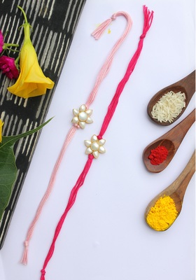 Pink Handcrafted Mother Of Pearl Rakhis (Set Of 2)