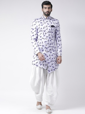 Blue Printed Polyester Stitched Indo Western Dresses