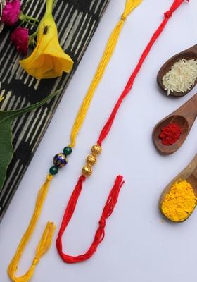 Red Yellow Handcrafted Meenakari Rakhis (Set Of 2)