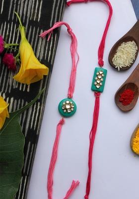 Pink Red Handcrafted Kundan Inspired Rakhis (Set Of 2)