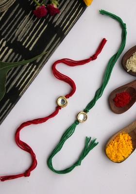 Green Red Handcrafted Kundan Inspired Rakhis (Set Of 2)