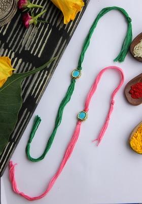 Pink Green Handcrafted Kundan Inspired Rakhis (Set Of 2)