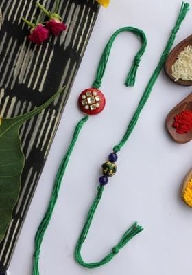 Green Handcrafted Kundan Inspired Rakhis (Set Of 2)