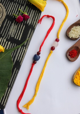 Red Yellow Handcrafted Rakhis (Set Of 2)