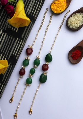 Red Green Handcrafted Stone Rakhis (Set Of 3)