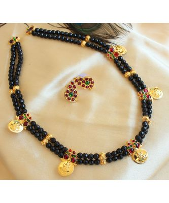 Beautiful Black Agates Kemp Green Mango Lakshmi Coin Designer Necklace Set