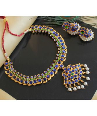 BEAUTIFUL GOLD PLATED BLUE-GREEN MANGO DESIGNER TEMPLE NECKLACE SET