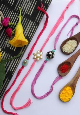 Multicolored Handcrafted Kundan Inspired Pearl Rakhis (Set Of 3)