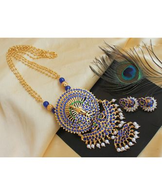 Beautiful Handmade Blue Green Temple Peacock Designer Pendant Long Necklace Set