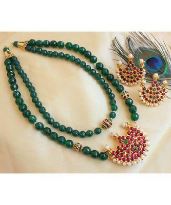 Beautiful Kemp Green Agates Moon Designer Double Layer Necklace Set