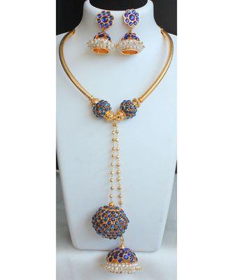 Beautiful Blue Rudhra Balls Designer Necklace Set