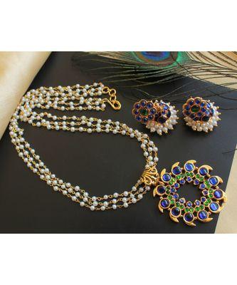 Beautiful Blue Green Mango Designer Necklace Set