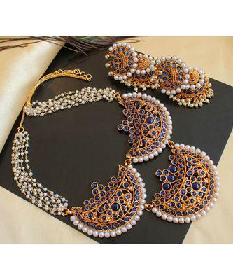 Beautiful Blue Pearl Moon Designer Necklace Set