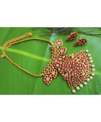 Beautiful Kemp Green Pearl Mango Designer Necklace Set