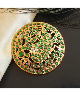 Beautiful Green Peacock Designer Hair Jewel ( Rakodi)