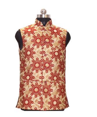Jodhpuri Men's Red colour nehru jacket