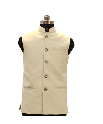 Jodhpuri Men's cream colour Solid nehru jacket