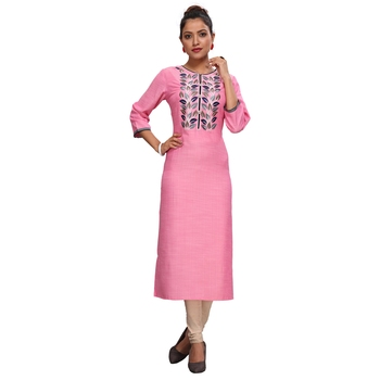 Pink embroidered viscose kurtas-and-kurtis