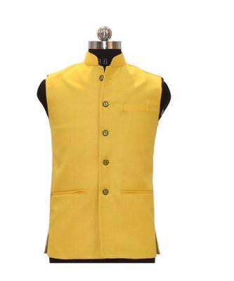 Jodhpuri Men's Yellow colour Solid nehru jacket