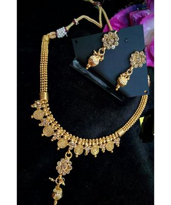 Georgeous Gold Plated White Colour Necklace Set