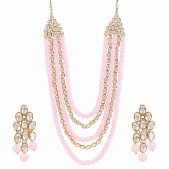 Gold Plated Kundan & Beads Multi-Strand Necklace Set With Earrings For Women