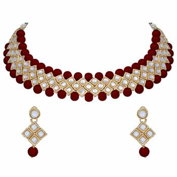 Traditional Gold Plated Pearl & Kundan Choker Necklace Set With Earrings For Women