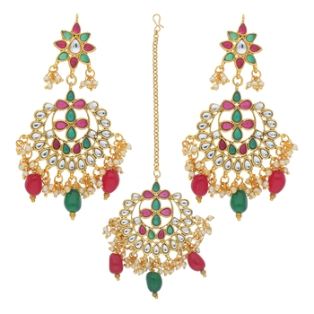 Traditional Gold Plated Pearl & Kundan Maang Tikka With Earring Set