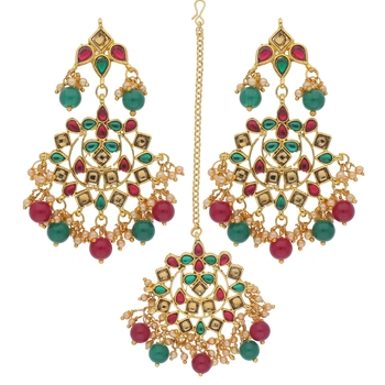 Traditional Gold Plated Pearl & Stone Studded Maang Tikka With Earring Set