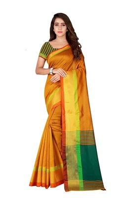 Yellow woven polyester saree with blouse