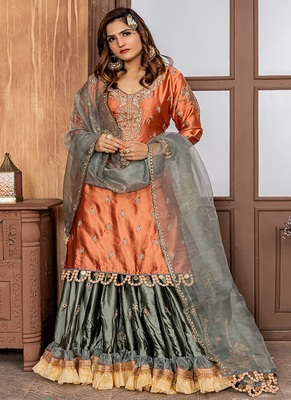 Orange embroidered satin salwar