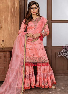 Salmon embroidered satin salwar