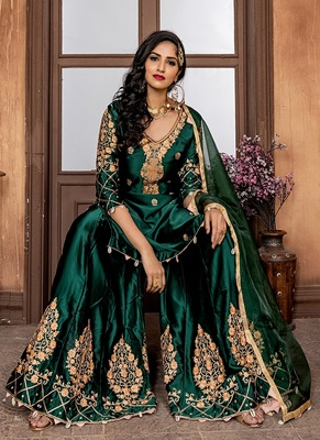 Dark-green embroidered satin salwar
