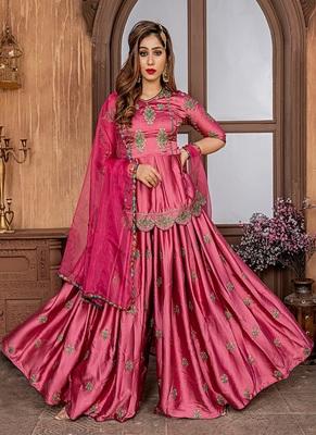 Onion-pink embroidered satin salwar