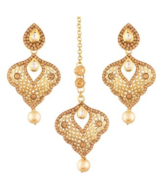 Gold Plated  Earring Set With Maang Tikka  For Women