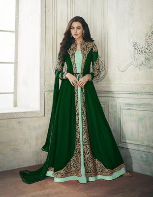 GREEN EMBROIDERED GEORGETTE SALWAR WITH DUPATTA SEMI STITCHED