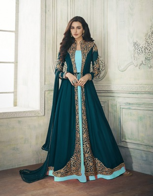 TURQUOISE EMBROIDERED GEORGETTE SALWAR WITH DUPATTA SEMI STITCHED