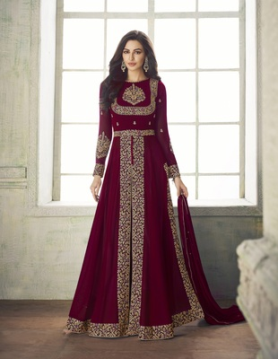 MAROON EMBROIDERED GEORGETTE SALWAR WITH DUPATTA SEMI STITCHED