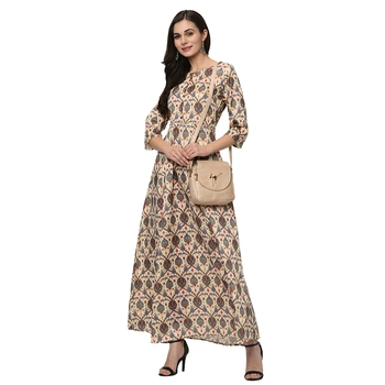 Women's Cream Digital Print Flared Polysilk Kurta