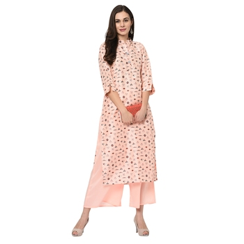 Women's Peach Digital Print Straight Polysilk Kurta