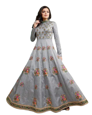 Grey embroidered art silk salwar