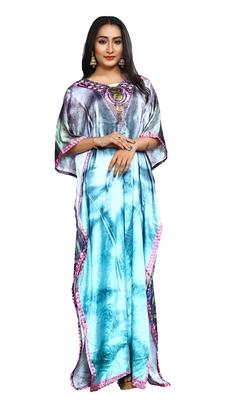 Justkartit Multi Color Digital Printed Satin Silk Long Kaftans Kurtas For Women