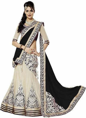 Cream embroidered net semi stitched lehenga