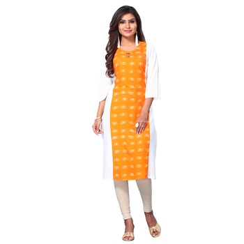 Orange printed rayon kurtas-and-kurtis